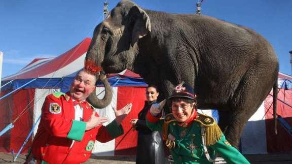 Baba sammen med eier Adriana Folco Althoff og klovneparet DeLillo (Foto: Cirkus Merano).