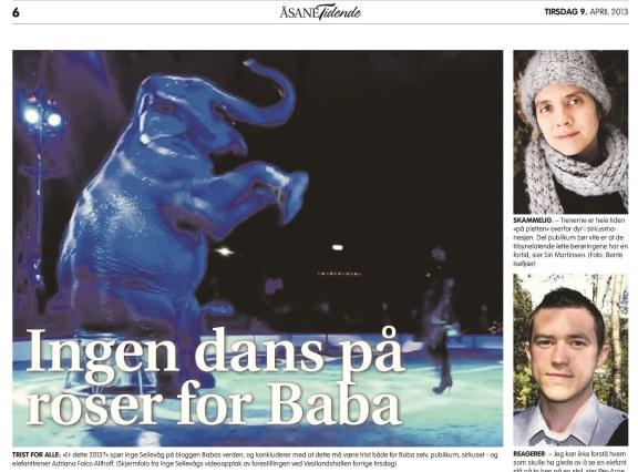 Oppslag i Åsane Tidende den 8. april 2013 på bakgrunn av Babas opptreden.